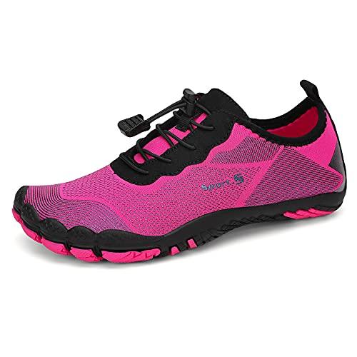 Dannto Chaussures Aquatiques pour Homme Femme Enfants Chaussures d eau Pieds Nus à séchage Rapide Chaussures de Plage Chaussures de Yoga Plongée Surf Piscine Sport Aquatique (Rose-C,38