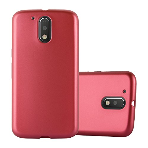 Cadorabo Hülle für Motorola Moto G4 / Moto G4 Plus - Hülle in METALLIC ROT – Handyhülle aus TPU Silikon im Matt Metallic Design - Silikonhülle Schutzhülle Ultra Slim Soft Back Cover Case Bumper