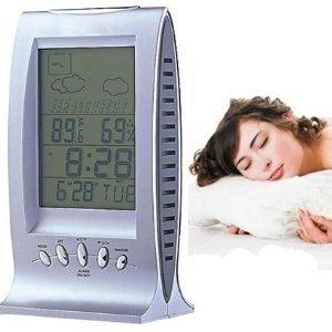 cw8084Reloj despertador meteorológica calendario digital LCD pantalla temperatura horario