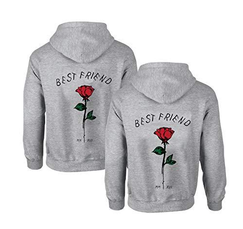 Best Friends Pullover für Zwei Mädchen 1 Stück Rose Beste Freunde Hoodie für 2 Mädchen Sister Freundin Freundschafts Pulli BFF Geschenke