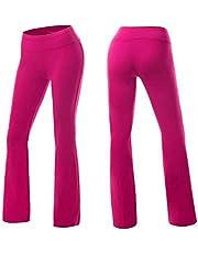 Performance Pants,Women's Fold Over Yoga Pants, Long Workout Sport Pant, Leg Lounge Bootleg Flared Open Bottom Pant