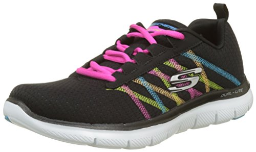 Skechers Flex Appeal 2.0, Damen Low top, Schwarz (Blackmulti), 35 EU (2 UK)