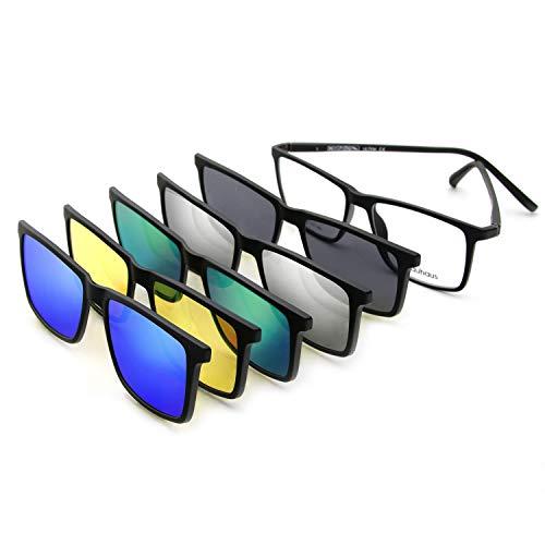 BAUHAUS Magnetic Clip on Sunglasses for Men & Women Polarized UV Protection Retro Square Eyeglasses Fit Over Night Driving