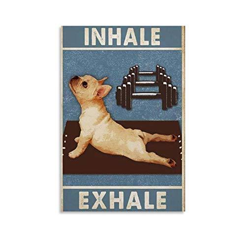 Withtap Inhale And Exhale - Póster retro de yoga (40 x 60 cm)