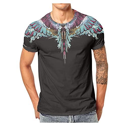 Camiseta estampada 3D para hombre, verano, informal, manga corta, corte ajustado, básico, jersey para hombres y niños azul L