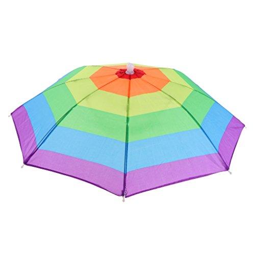 non-brand Regenschirm-Hut faltbare Kopfbedeckung für Angeln, Garten, Wandern - Farbstreifen