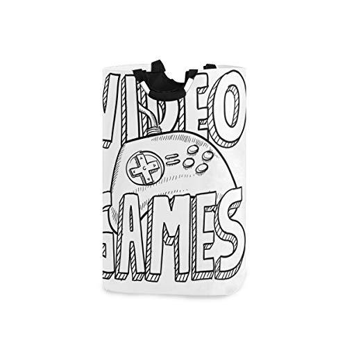 ZOMOY Multifunktionale Faltbarer Schmutzige Kleidung Wäschekorb,Doodle Style Videospiele Typografie Design mit Controller Skizze,Household Wäschebox Spielzeug Organizer Aufbewahrungsbeutel mit Henkel