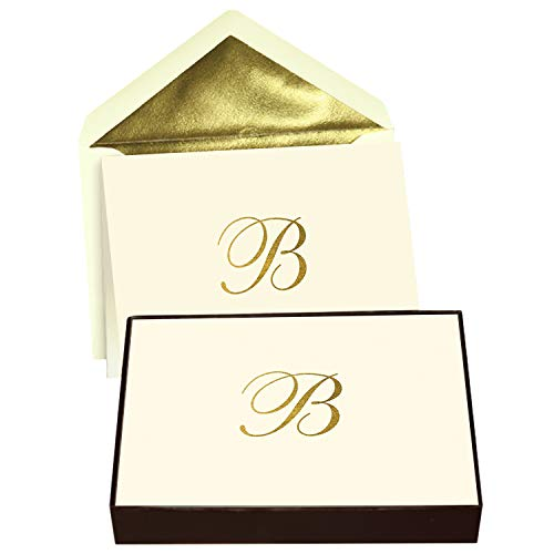 Designer Greetings Monogram Boxed Note Cards, Personalized Stationery Set (10 Count), Letter B