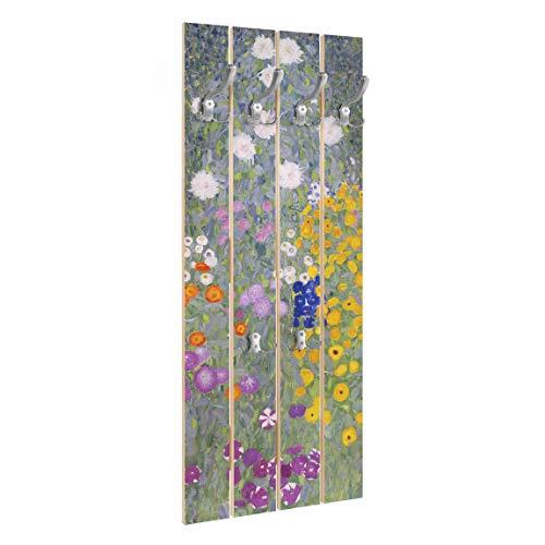 Bilderwelten Perchero de Madera Gustav Klimt   Cottage Garden   Ganchos cromados 100x40 cm