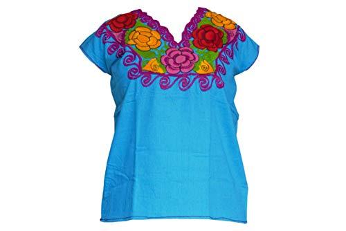 Mexikanische Blusen mit Blumenstickerei von Chiapas Kunsthandwerkern – authentisch und originell – - Blau - Groß