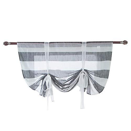 Fine Window Curtain, Beauty Roman Curtain Short Sheer Tie Up Window Balloon Shade Sheer,Adjustable Tie-Up Curtain (Gray)
