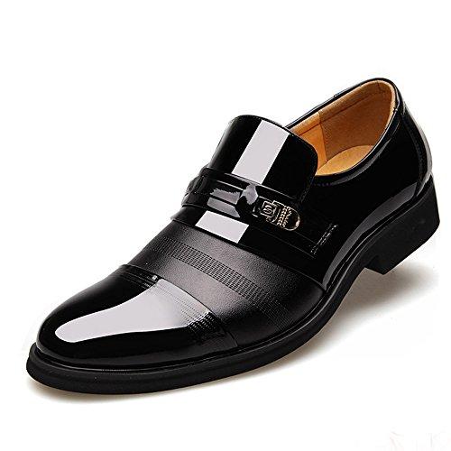 Blivener - Botas Mocasines de Charol Hombre, Color Negro, Talla 45 EU