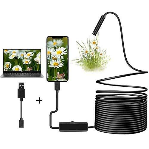 LVYE1 MRMF Endoscope 3 en 1 USB/Micro USB/Type-C 1200P Cámara de inspección 2.0 megapíxeles HD Boroscopio Impermeable Cable semirrígido Snake Camera para Android/Windows/Macbook OS Computadora (5M)