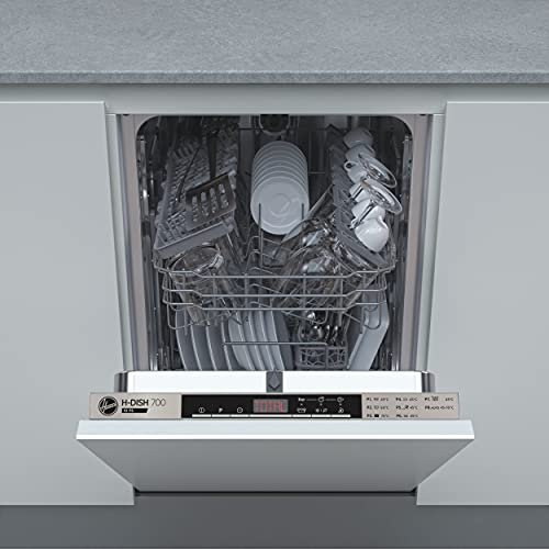 Hoover HDIH 2T1047-80 Slimline Integrated Dishwasher, 10 Place Settings, Silver Trim