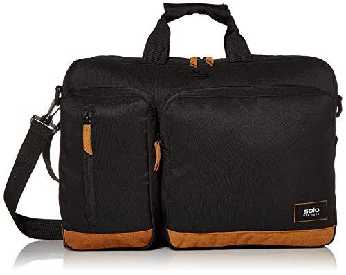 Solo New York Duane - Maletín híbrido para portátil, Color Negro y marrón Claro, Talla única