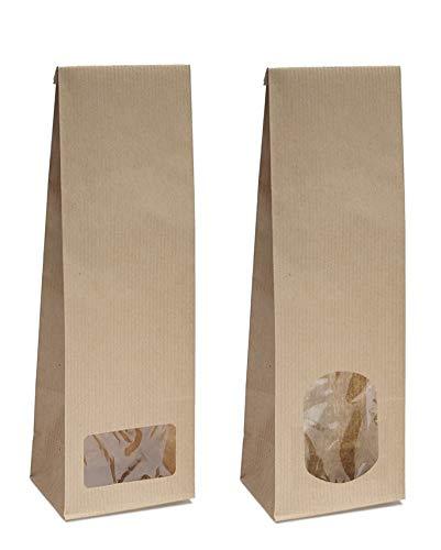 Blockbodenbeutel mit ovalem Sichtfenster - 50 Stk. á 250g - Größe 8 x 5 x 24,3 cm - Papiertüten Bodenbeutel Geschenktüte Tütchen Kraftpapier Papierbeutel (250g – mit ovalem Fenster, 50 Stk.)