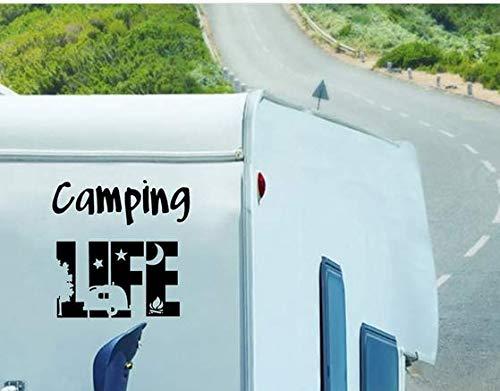 Vinilo Pegatina Camping Life para Coches, caravanas, Jeep, autocaravanas, campistas 21 x 21 cm de CHPYHOME