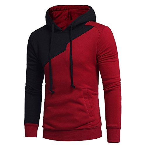 MORCHAN Hommes Long Manches Patchwork Sweat à Capuche Hauts Outwear Manteau de Veste(X-Large,Rouge)