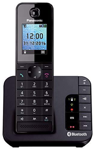 Panasonic KX-TGH260JTB Telefono Cordless con Segreteria Telefonica, Funzioni Link to Mobile, Connessione a Smartphone via Bluetooth, LCD Policromatico Retroilluminato, Modalità EcoPlus, Nero