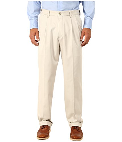 Dockers Men's Relaxed Fit Comfort Khaki Cuffed Pants-Pleated D4, Porcelain Khaki (Stretch), 36W x 31L
