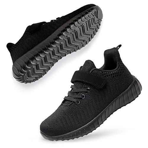 Boys Sneakers Kids Girls Boys Athletic Gym Breathable Lightweight Running Shoes All Black 10.5 Little Kid