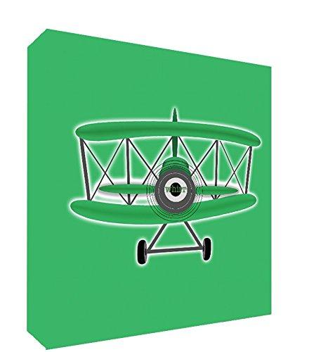 Feel Good Art Gallery verpakt Box canvas, het solide front paneel voor het vervoer van kleine kinderen (25 x 25 x 4 cm, klein, groen, vintage vliegtuig)