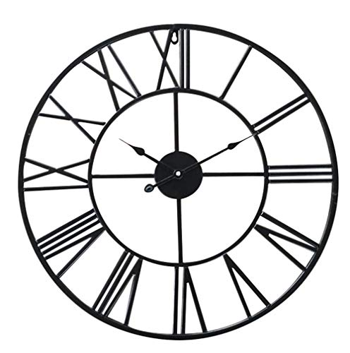 Antic by Casa Chic - Große Metall Wanduhr mit Quarz Uhrwerk - 60 cm Durchmesser - Römische Ziffern - Vintage Zeiger - Schwarz