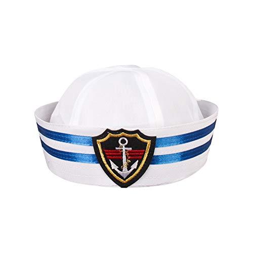 Partido Divertido Sombrero De Capitán De Yate Sombreros Blancos Marinero Skipper Náutica...