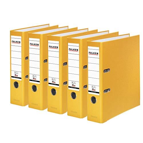 Original Falken 5er Pack PP-Color Kunststoff-Ordner. Made in Germany. 8 cm breit DIN A4 gelb Vegan Ringordner Aktenordner Briefordner Büroordner Plastikordner Schlitzordner