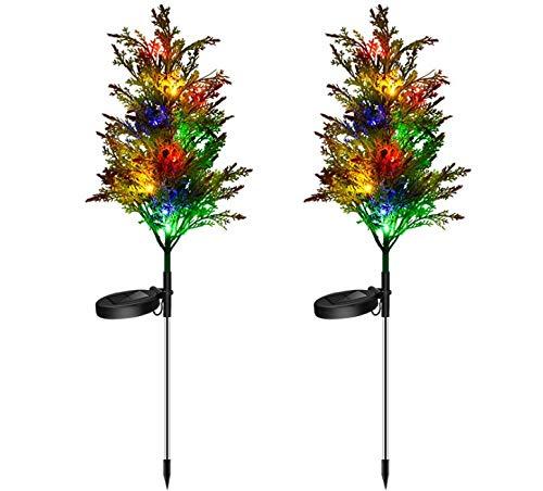 ÁRbol De Navidad Con Luz Solar Led 2 Juegos Luces JardíN Al Aire Libre,Navidad Solares Al Aire Libre De Acero Inoxidable,A Prueba De Agua,Que Se Utilizan Para Las Vacaciones En El Patio La Terraza