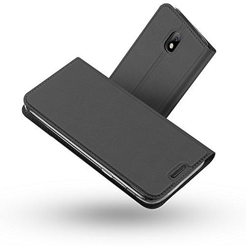 Radoo Galaxy J3 2017 Hülle, Premium PU Leder Handyhülle Brieftasche-stil Magnetisch Folio Flip Klapphülle Etui Brieftasche Hülle Schutzhülle Tasche Hülle Cover für Samsung Galaxy J3 2017 (Schwarz grau)