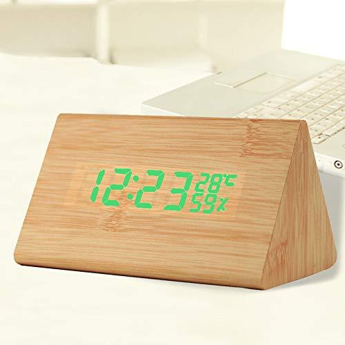 MYYXGS Pequeño reloj despertador mini led mesita de noche pequeño reloj despertador reloj de madera activado por sonido pequeño reloj despertador hogar sala de estar dormitorio decoración