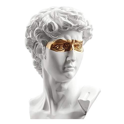 "LKXHarleya 6"" Creative Classic Gilded David Bust Statue, Greek Resin Michelangelo David Head Sculpture Figurine Cafe Home Table Decor(White)"
