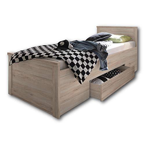 LUCA KOMFORT Stilvolles Einzelbett 100 x 200 cm mit Bettkasten - Komfortables Landhausstil Schlafzimmer-Bett in Eiche San Remo - 106 x 91 x 205 cm (B/H/T)