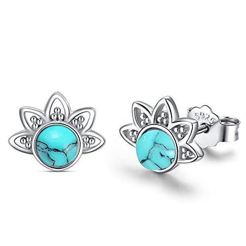 Pendientes de plata de ley 925 con diseño de loto turquesa para mujeres, pendientes bohemios hipoalergénicos, joyas de flores para niñas