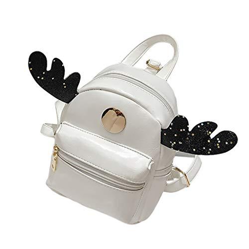 Schultasche Kind Rucksack Junge Mädchen Elegant handtaschen Mode Grundschule Student Im Freien Reise Backpack Anti Diebstahl Taschen Qmber Lässiger Kleiner Rucksack aus Elchleder für Kinder,White