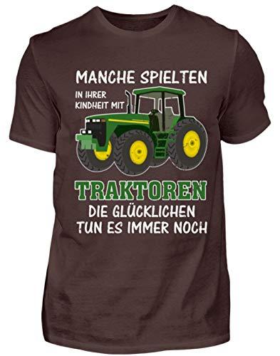 Traktor Landwirt Kindheit Witziger Spruch Landwirtschaft Trecker Bauer Geschenk - Herren Shirt -M-Braun