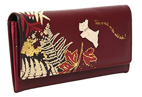 Radley Large Leather Flapover Matinee Purse Wallet Take a Walk on the Wild Side in Merlot Burgundy Red