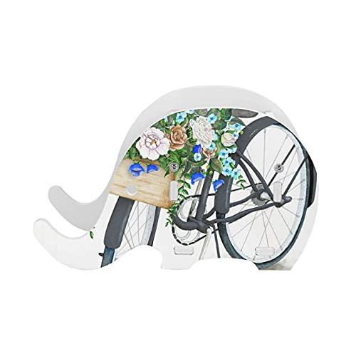 Azul Acuarela TurquesaHermosa Cesta de Flores Mano Verano Elefante Pluma Titular de la Pluma Organizador de Suministros de Escritorio Accesorios de Oficina Multifuncionales Decoración de Escritor