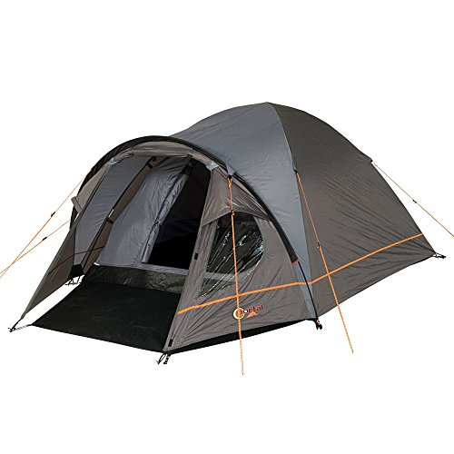 Portal Outdoor Unisex's Premium Three Person Tent, Charcoal/Orange, One Size