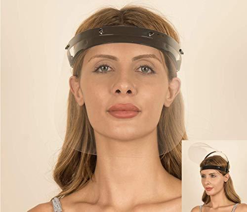 Fredo® Gesichtsschutz Visier aus Polycarbonat - 1 X Halter mit je 2 Wechselfolien- Face Shield - CE- Zertifiziertes Visier - Aufklappbares Gesichtsvisier für Männer/Frauen/Kinder - Schwarz