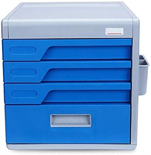 File cabinets Flat Four-layers Office Desktop Storage Box Drawer Confidentiality Organizer Improves Efficiency Stationery Pp Plastic - 30x38x27cm bookcase (Color : Blue)