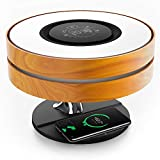 Ampulla Horizon Bedside Lamp with TWS Bluetooth Speaker and 10W Wireless Charger, Table Lamp Desk Lamp with Digital Clock, Stepless Dimming and Sleep Mode for Light Sleeper