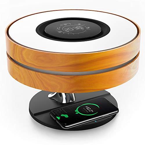 Lámpara de cabecera Horizon con cargador inalámbrico de 10 W y altavoz Bluetooth TWS, lámpara de noche para ambiente con reloj digital, atenuación continua y modo de suspensión para mesita de