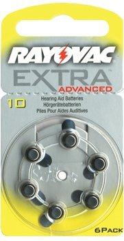 RAYOVAC pour appareils auditifs type 10 6 sous blister, 1,4 V, de zinc air