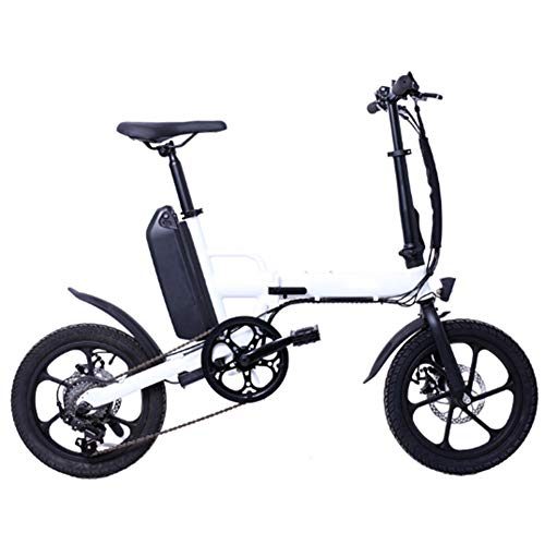 LILIJIA Bicicleta Montaña Eléctrica Plegable, Neumáticos 16 Pulgadas Bicicleta Cercanías con Batería Litio Gran Capacidad 36v 13ah, Velocidad Máxima 25 Km/H, Carga Máxima 120 Kg,Blanco