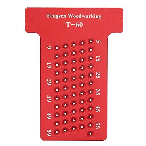 Medidor de trazado de aleación de aluminio, trazador de carpintería tipo T, diseño de madera cuadrada Indicador de marca métrica Regla de pinza Herramienta de medición de carpintero(rojo)