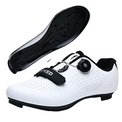 DTKJ - Scarpe da ciclismo da donna, con SPD, unisex, con fibbia, compatibile per interni e corse, bianco, 37 EU