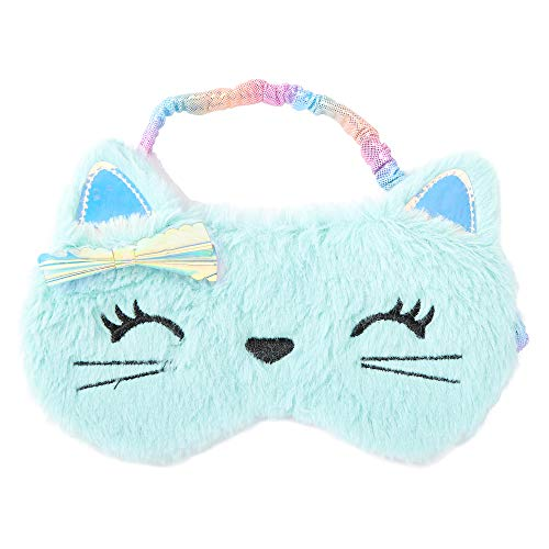 Claire's Club Holographic Kitty Sleep Eye Cover for Girls, Mint, Elastic Back, One Size, Stocking Filler, 1 Piece