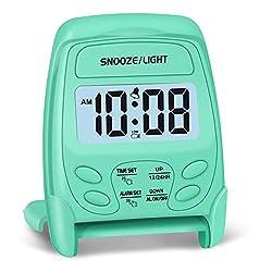 Peakeep Small Folding Battery Operated Alarm Clock, Travel Digital Easy Operation Alarm Clock(Mint)